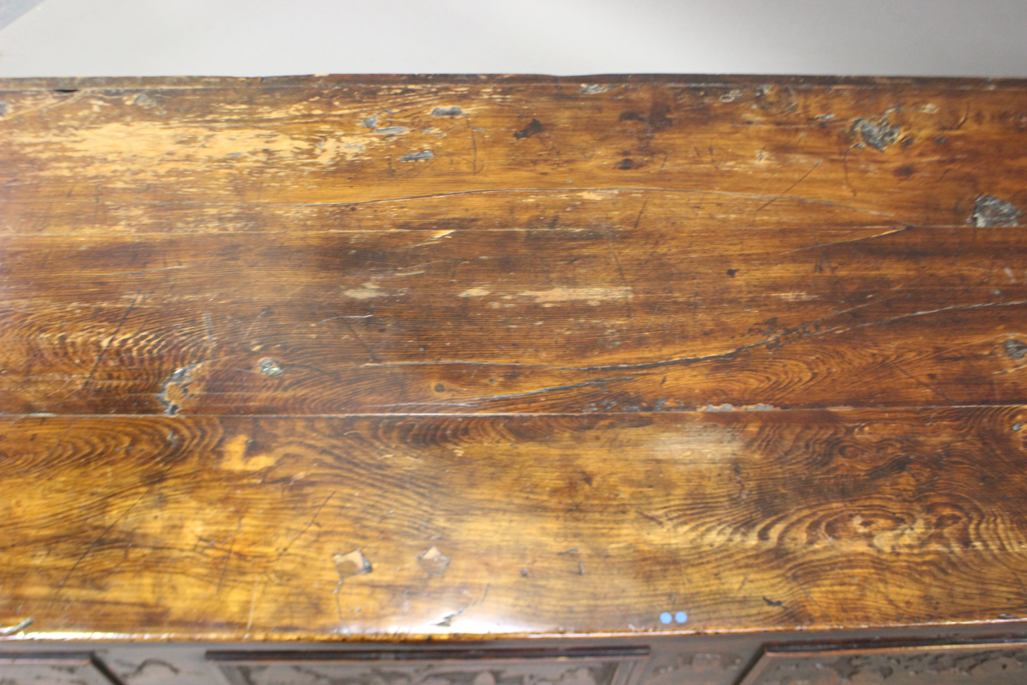 A large 17th century Italian cedar and walnut Adige chest, the lid hinged to reveal poker and pen - Image 12 of 13