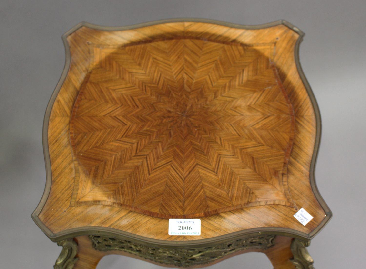 A pair of late 20th century Louis XV style kingwood and parquetry veneered jardinière stands with - Image 9 of 9