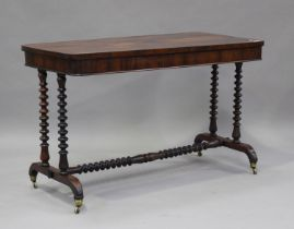 An early Victorian rosewood centre table, raised on barley twist supports, height 71cm, length