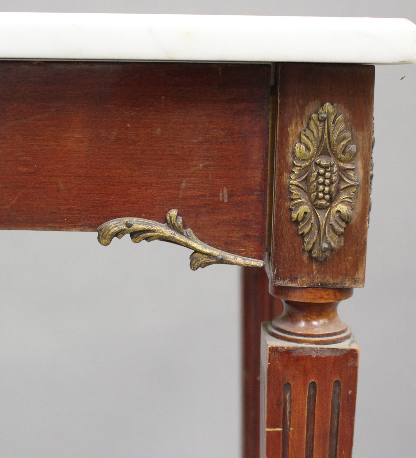 A 20th century Louis XV style mahogany and gilt metal mounted hall table with white marble top, on - Image 4 of 5