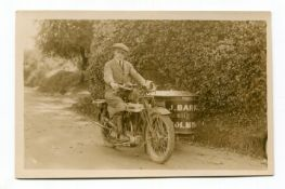 MOTORCYCLES. A collection of 61 postcards, photographs and reprints of pre-1930 motorcycles and