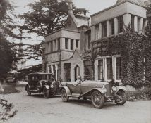 BENTLEY. A sepia-toned photograph by Chas Bowers, of William Sherbrooke and his Bentleys outside his