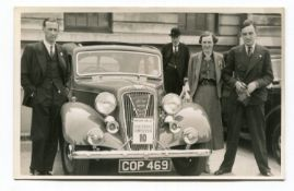 AUSTIN. A collection of 36 postcards and photographs of post-1935 Austin motorcars, including