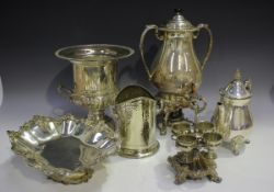 A collection of plated items, including a samovar and cover with heater base, height 39cm, an urn