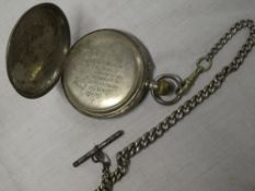 """A Victorian silver cased presentation pocket watch """"Presented by the inhabitants of Hayle to Pte. W."""