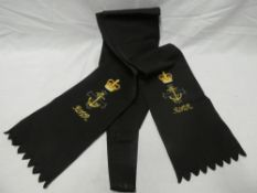 A Royal Naval Volunteer Reserve Chaplain's embroidered satin sash with attached medal ribbons