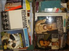 Two boxes containing a selection of various travel guides, pamphlets, booklets,