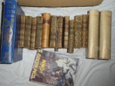 Various leather bound and other books including The Decameron of Giovanni Boccaccio 2 vols;