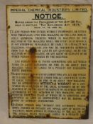 """An old enamelled rectangular sign """"Imperial Chemical Industries Ltd - Notice - The Explosives Act"""