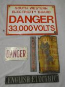 "Five various electricity warning signs including enamelled ""South Western Electricity Board Danger"