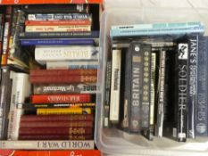 Two boxes of military volumes including World War I in photographs,