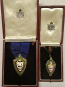 A pair of silver and enamelled Mayor and Mayoress medals relating to the Borough of Solihull :-