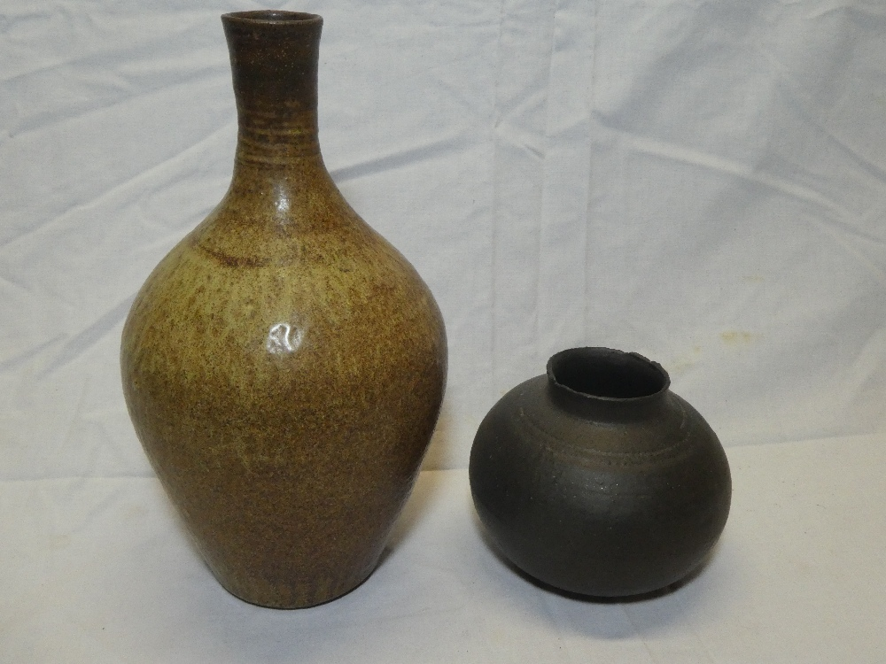 """A Studio pottery brown glazed tapered vase, signed """"MW"""","""