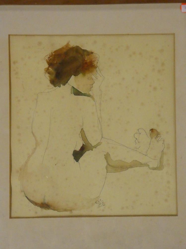 Kathy McNally - watercolour Seated female nude, signed with initials and dated '86,