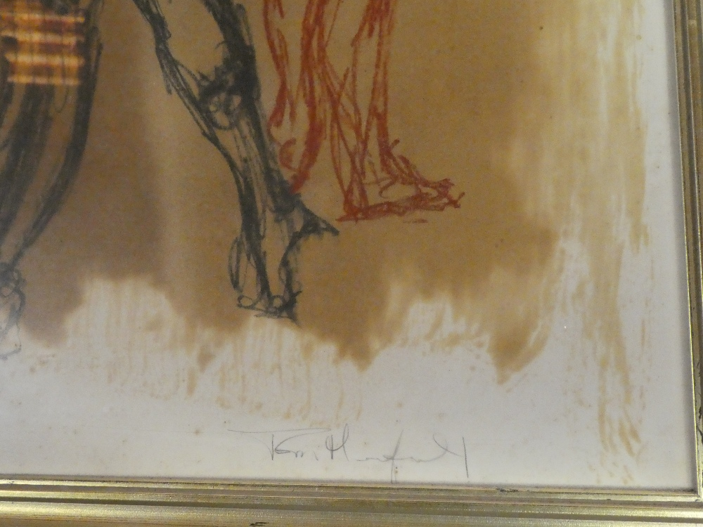 Tom Hickman - crayon/pencil Study of three nude females, signed, - Image 2 of 2