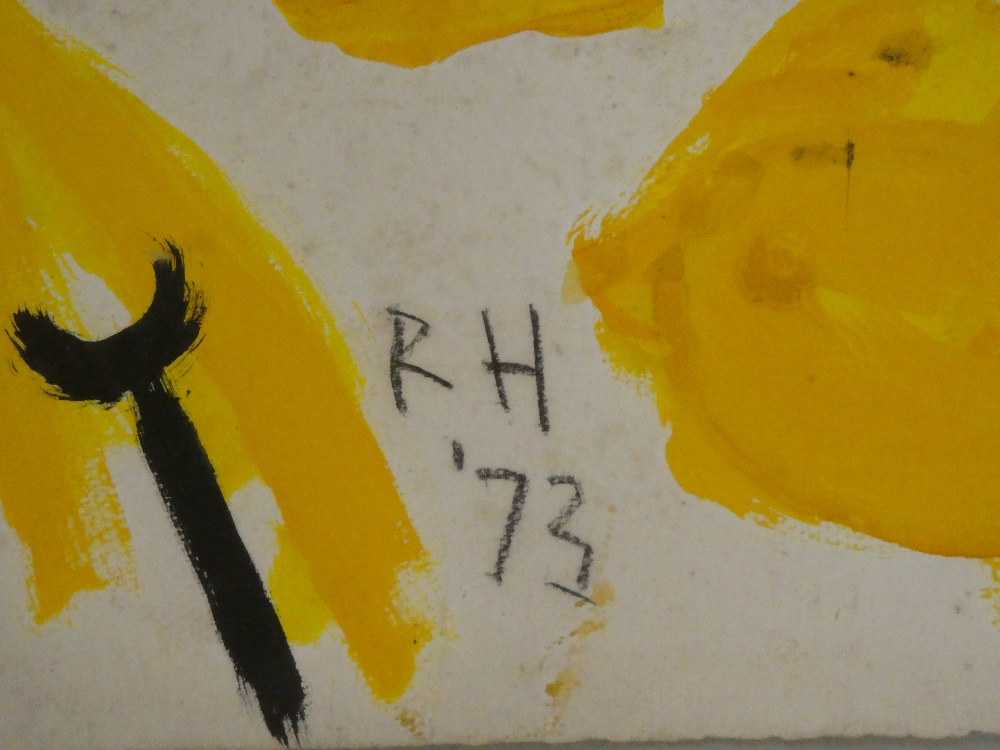 Roger Hilton - gouache Abstract figure study, signed with initials and dated '73, - Image 2 of 2
