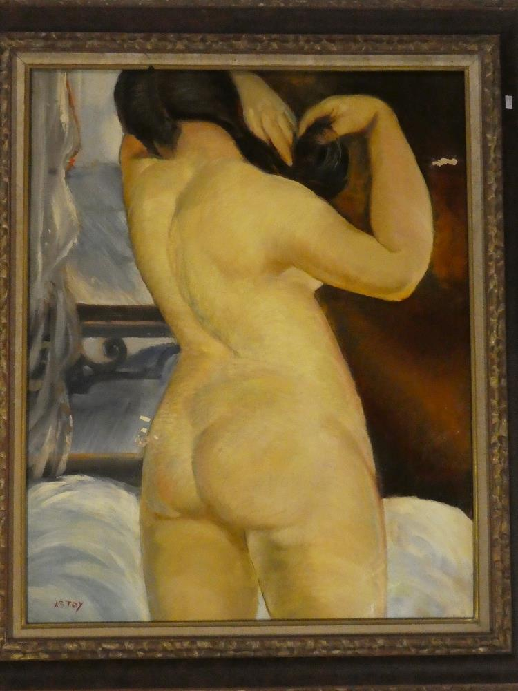 Gustave Astoy - oil on canvas Three-quarter length portrait of a female nude, signed,