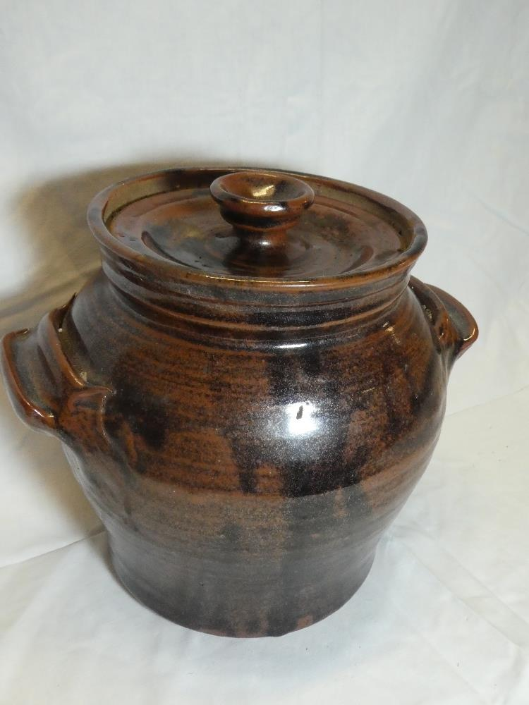 A St Agnes Studio pottery two-handled jar and cover with brown and black glazed decoration, - Image 2 of 2