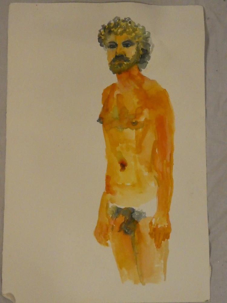 Paul Gell - watercolour Standing figure of a male nude, studio sale label to verso,