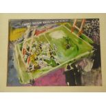 """Tony Giles - watercolour Cornwall rugby scene """"Up Cornwall!"""", signed, inscribed and dated '76,"""