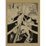 Ron Wood - pen and ink Mythical study with Medieval figures, signed,