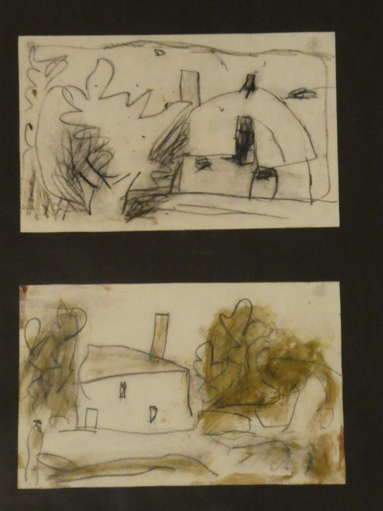 """Roy Turner Durrant - pencil House studies """"Paddocks Gate to Summer Hall from Wansted"""","""
