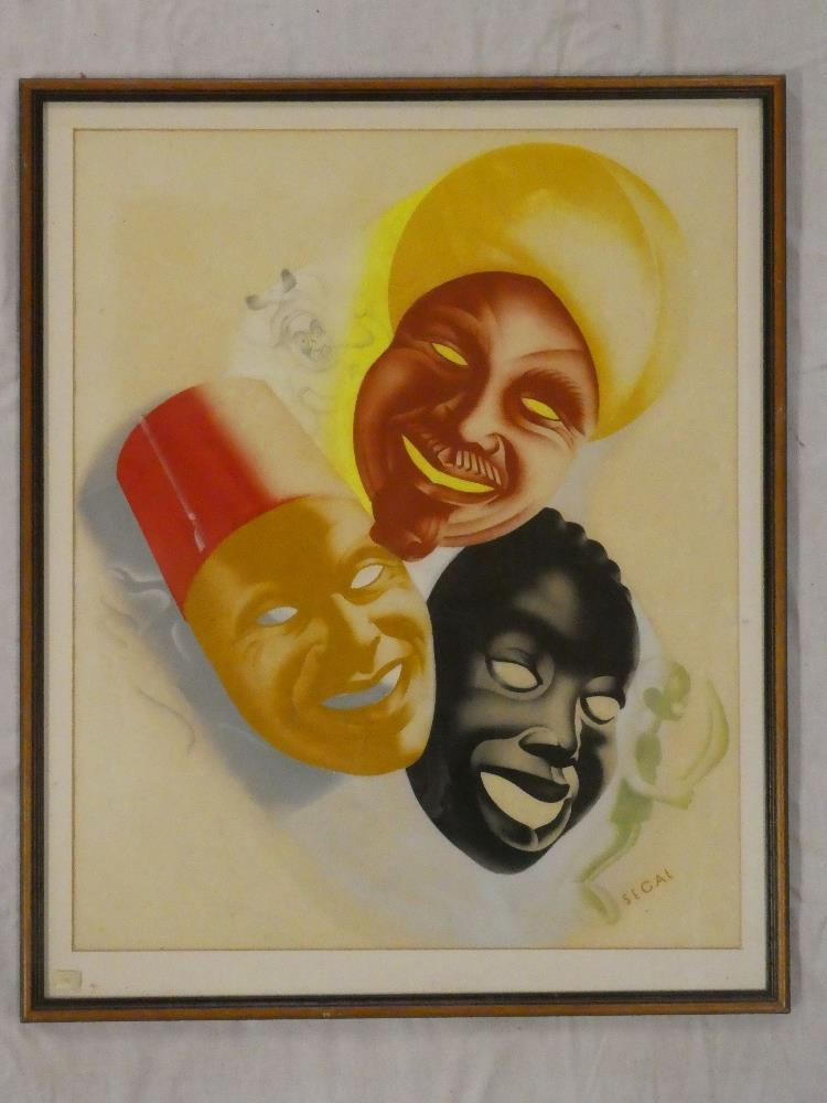 """A coloured Hyman Segal poster print depicting theatrical masks, 23½"""" x 19"""","""