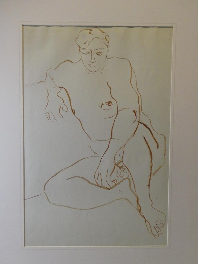 Reginald Woolley - watercolour Male nude life drawing, labelled to verso,