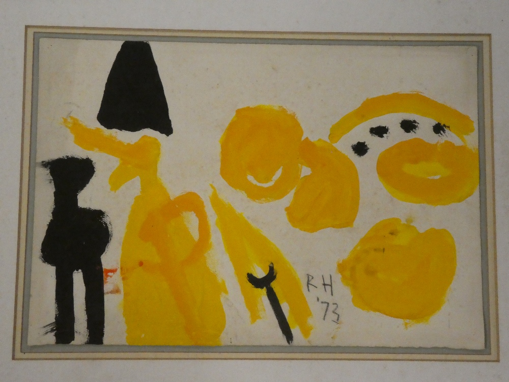 Roger Hilton - gouache Abstract figure study, signed with initials and dated '73,