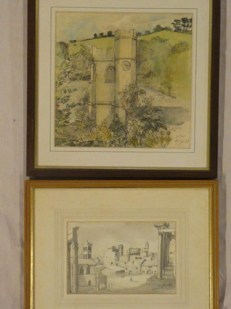 Chris Insoll - watercolours St Just-in-Roseland Church, signed,