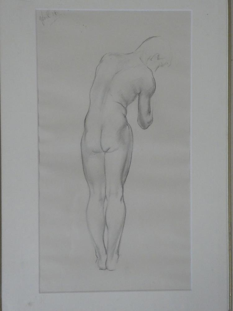 H**C** Deykin - pencil Rear view of a standing male nude, dated April '18,