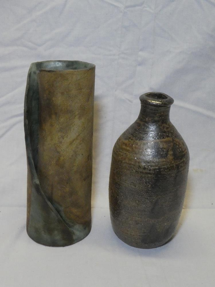"""A Studio pottery wrapped cylindrical vase, 11"""" high and a Studio pottery bottle-shaped vase,"""