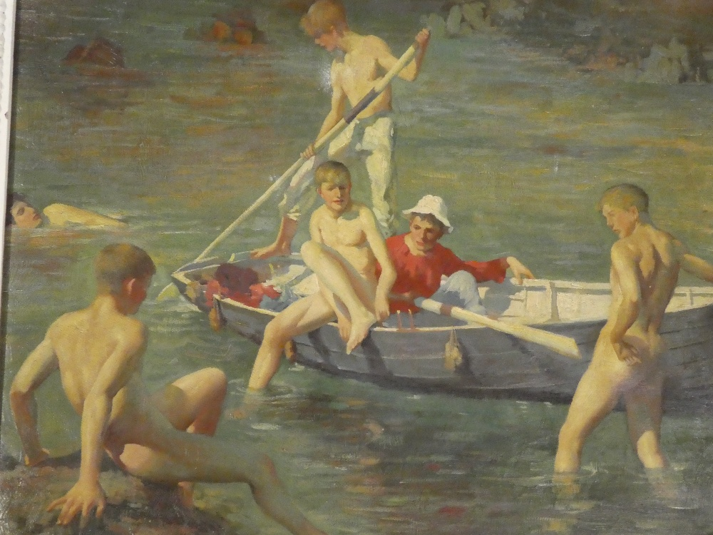 A coloured print on canvas depicting nude boy bathers after Henry Scott Tuke, - Image 2 of 2