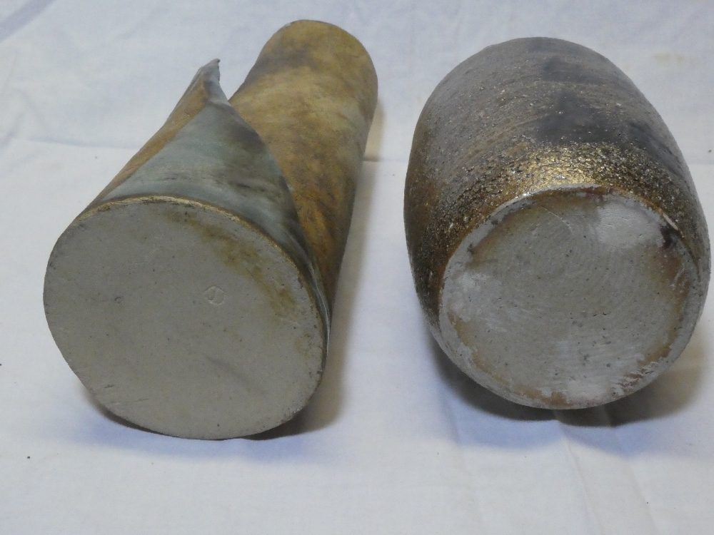 """A Studio pottery wrapped cylindrical vase, 11"""" high and a Studio pottery bottle-shaped vase, - Image 2 of 2"""