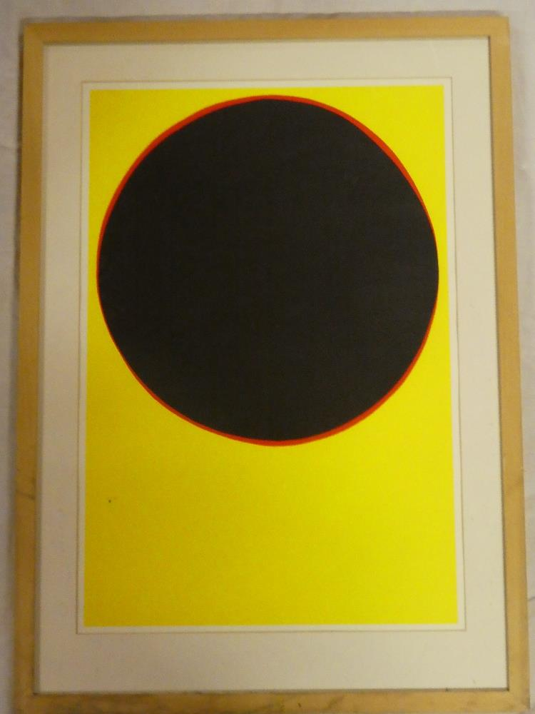 An untitled abstract silk screen print - black and red on yellow,