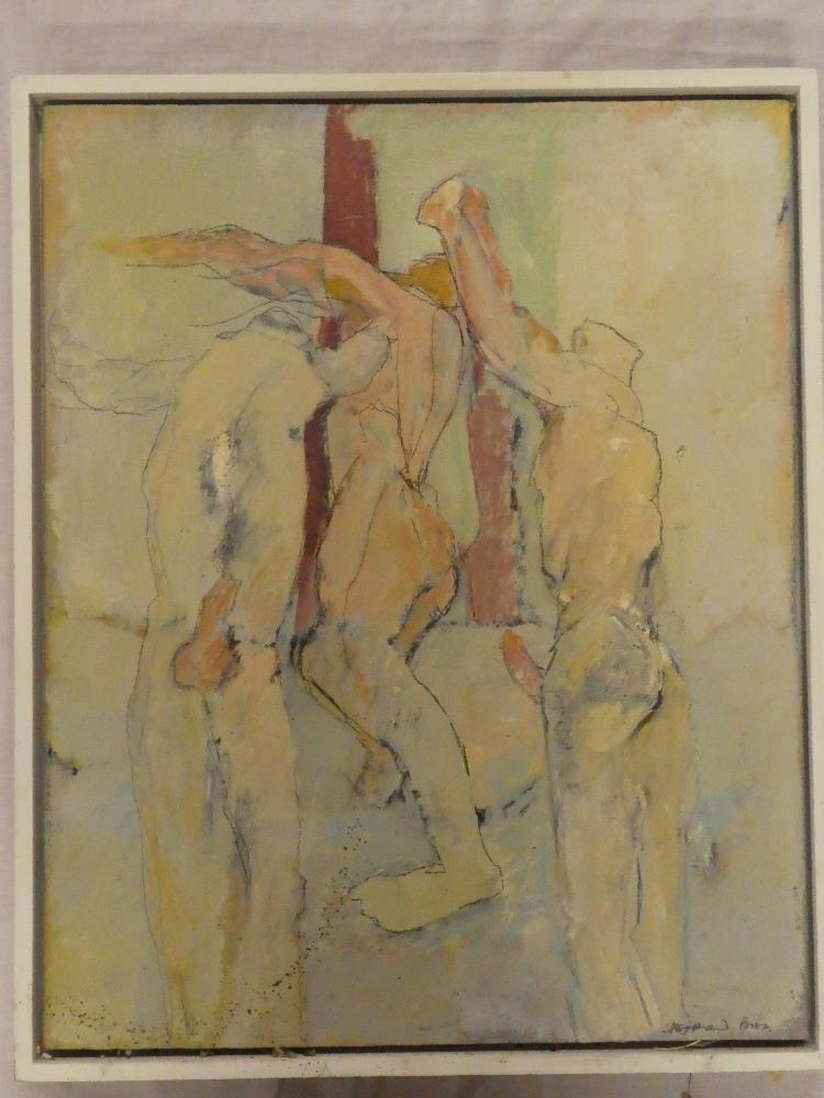 """Michael Sheppard - oil on board """"The Dancers"""", signed, inscribed to verso,"""