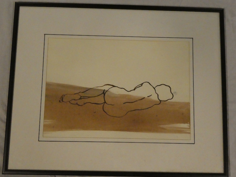 Artist Unknown - watercolour Study of a sleeping nude,