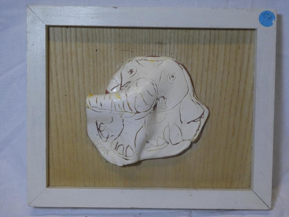 Julian Dyson - ceramic on wood panel Study of an elephant, signed,