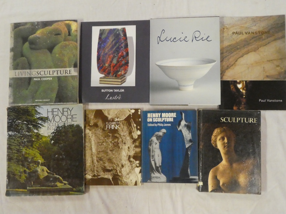 Nine various sculpture and art volumes including Henry Moore on Sculpture,