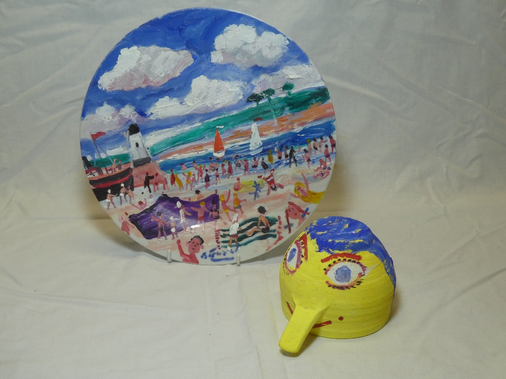 Simeon Stafford - A painted ceramic plate depicting St Ives scene with figures, signed,