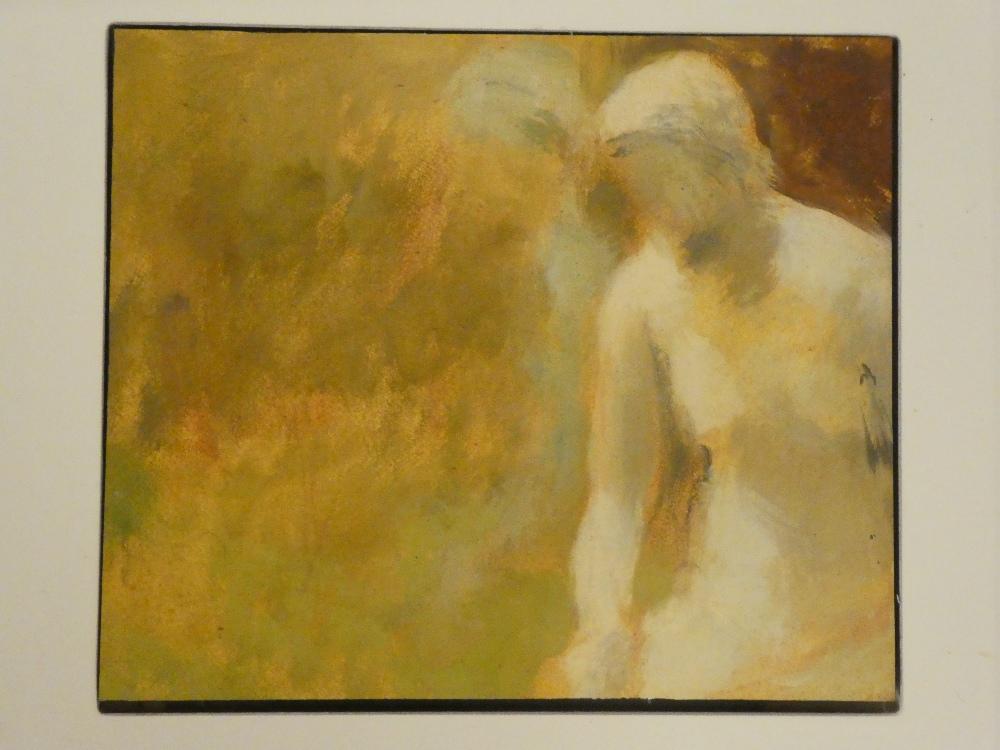 """Artist unknown - oil on board Male form, inscribed to verso Scuthura Alla Finestera"""","""
