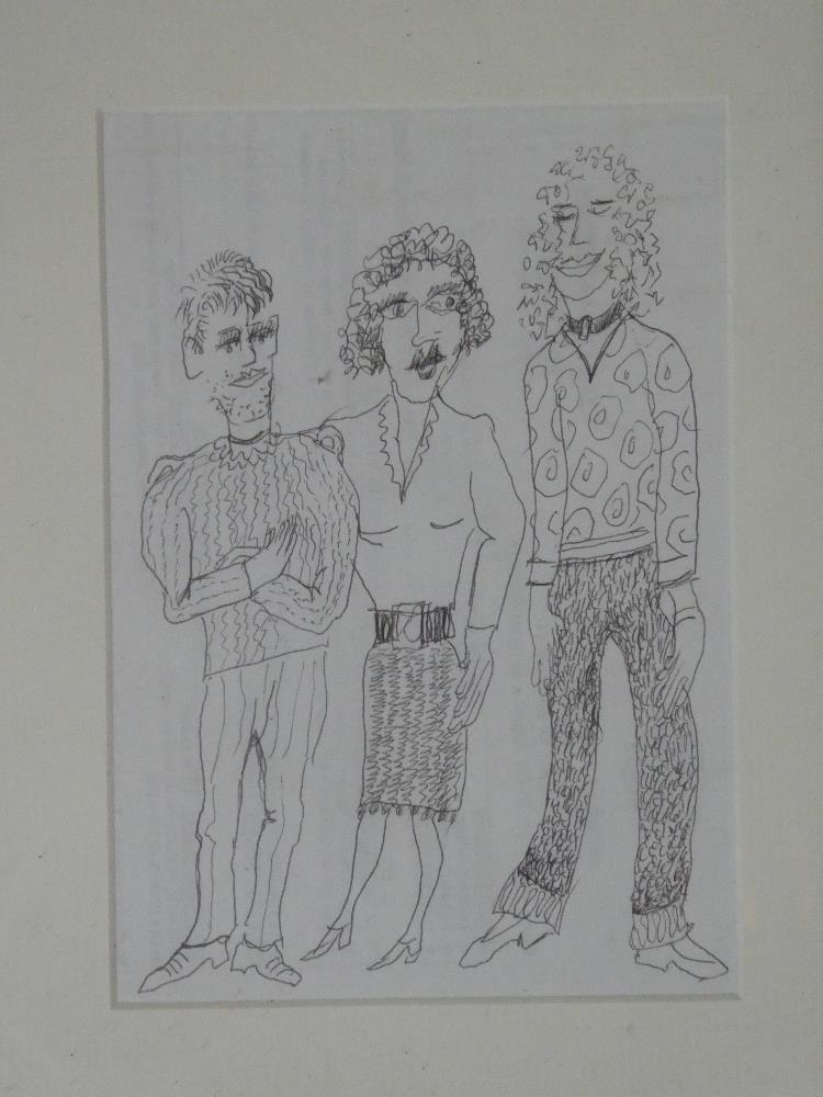 Fred Yates - pen and ink Study of three characters, labelled to verso,