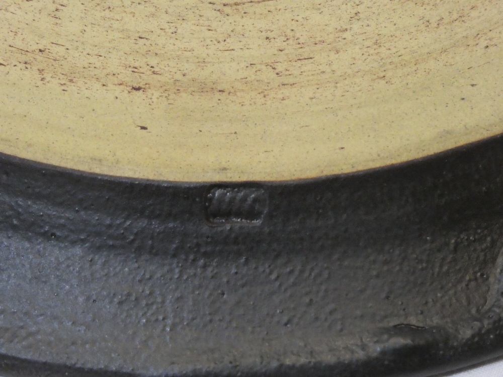 """A Studio pottery circular platter with brown glazed decoration, signed """"MW"""", - Image 2 of 2"""
