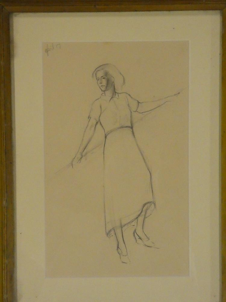 H**C**Deykin - pencil Study of standing female leaning against a handrail, dated April '17,