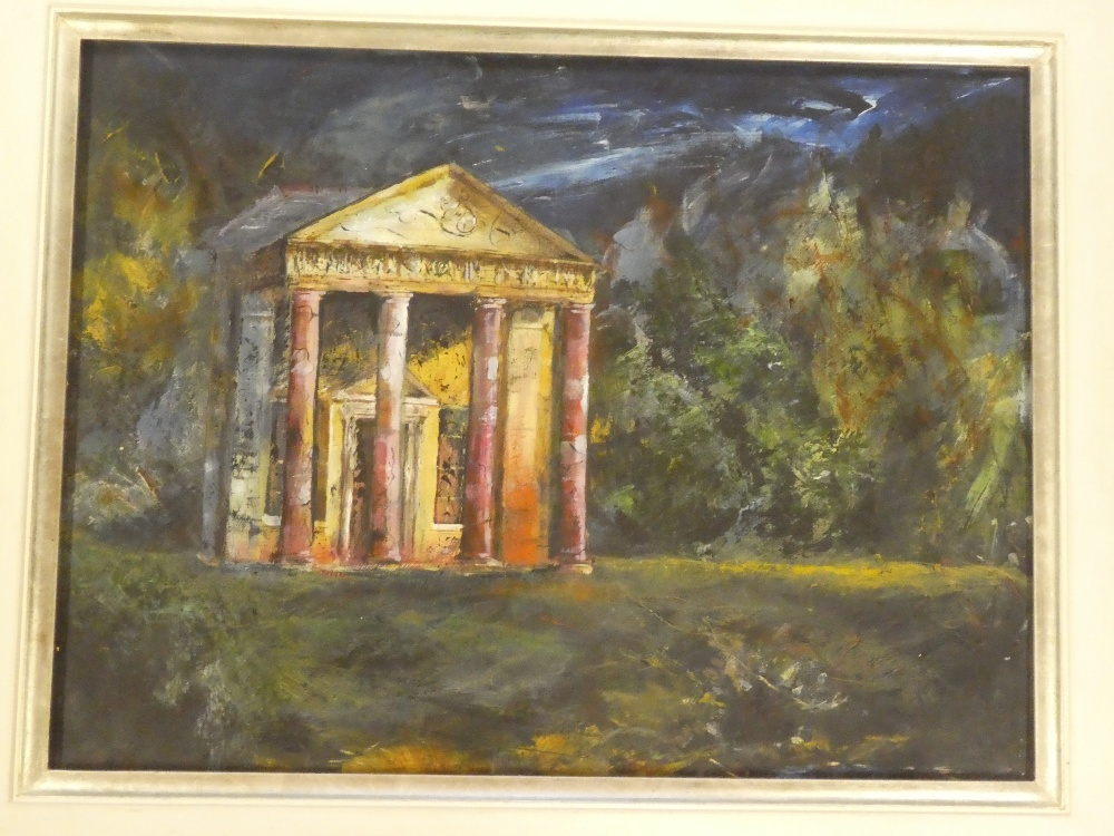Frater - oil on canvas A mausoleum within a landscape, signed,