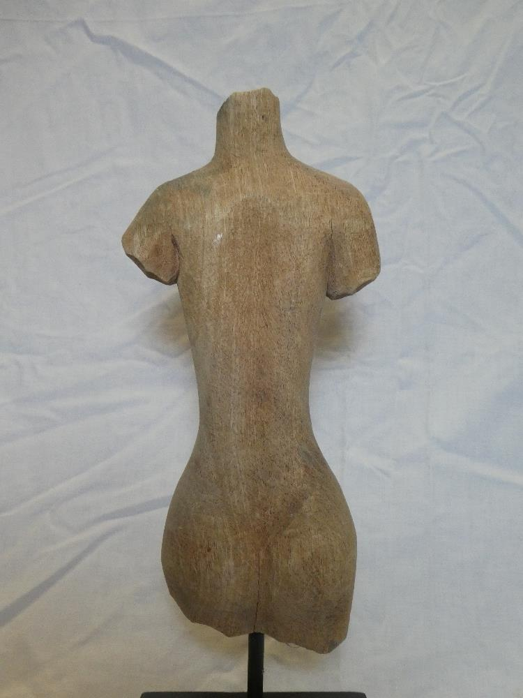 """A wooden sculpture of a female torso 11"""" high on a wooden stand - Image 2 of 2"""