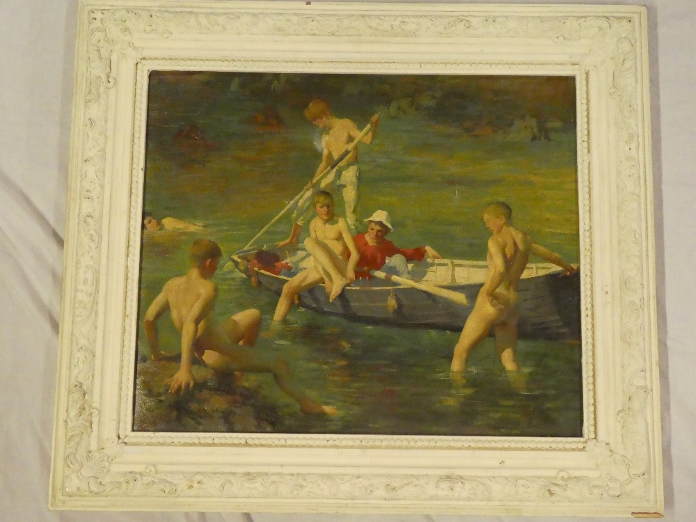 A coloured print on canvas depicting nude boy bathers after Henry Scott Tuke,