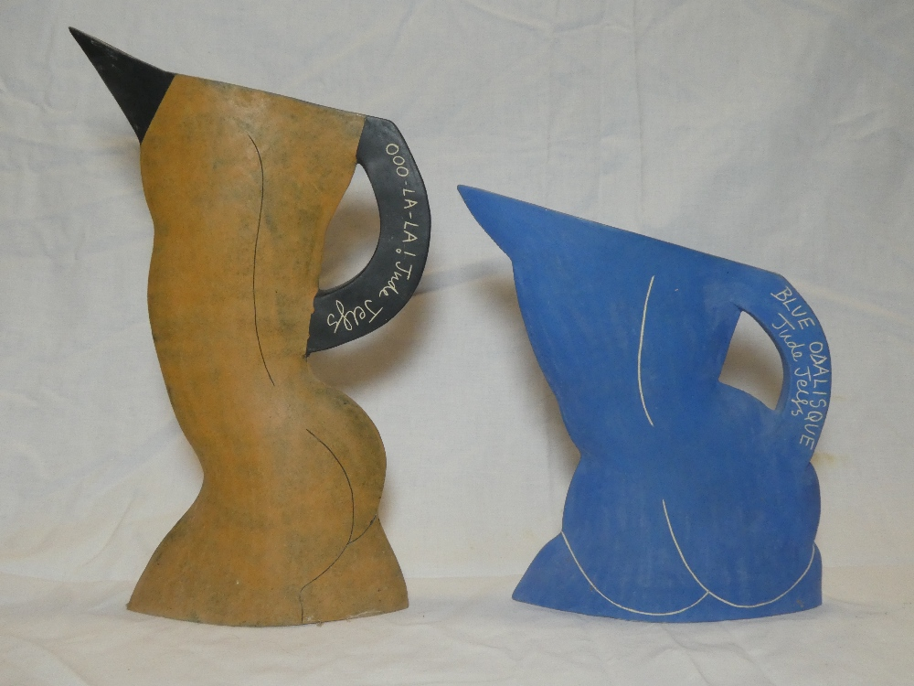"A Studio pottery angular jug ""Blue Odalisque"" signed Jude Jelfs,"