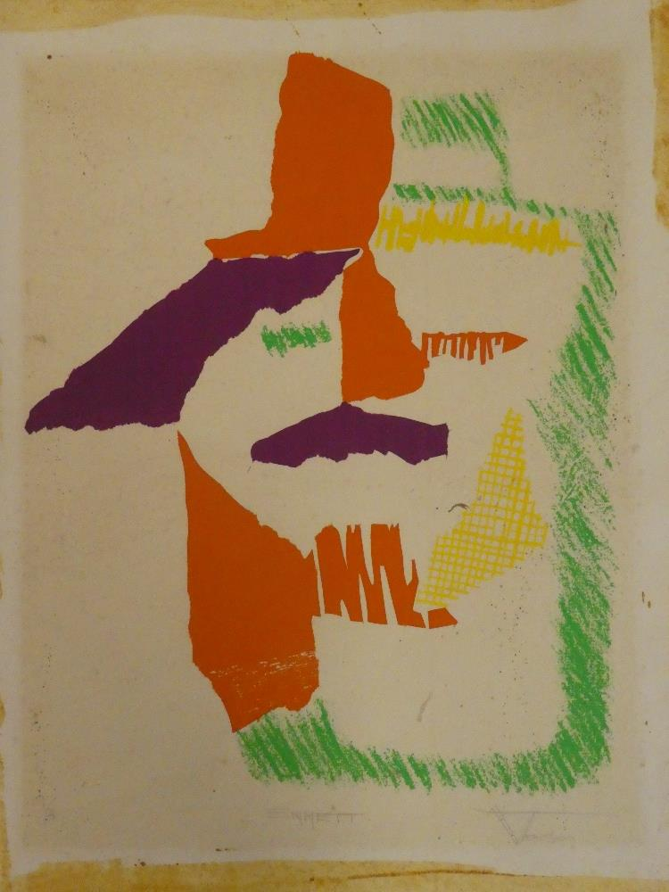 """Warren Thomson - watercolour """"Emmett"""", abstract, signed and inscribed, labelled to verso,"""