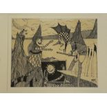 John Glynn - pen and ink Punch and Judy Show, signed and dated '93,